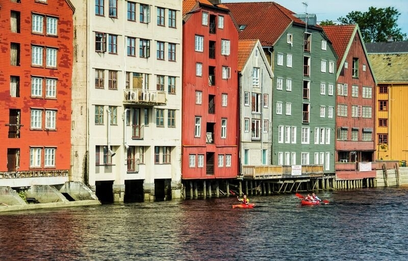Kayaking downtown Trondheim.