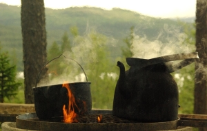 Coffee pot outdoors in Åre.