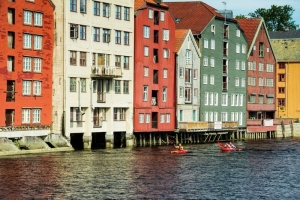 Kayaking downtown Trondheim,